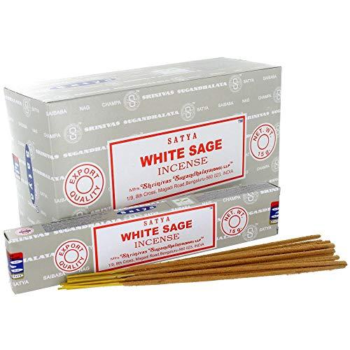 Title: Satya Nag Champa White Sage Fragrance Incense Sticks-12packs x 15grams (1)