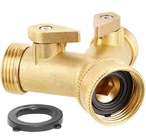 Haus & Garten 2-Way Brass Hose Splitter - Lever Double Swivel Spout