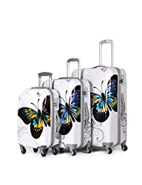 Archibolt 3-Piece Luggage Set Suitcase Rolling Spinner, Butterfly