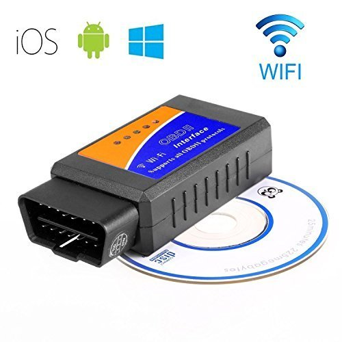 GXG-1987 WiFi Wireless OBD-II Mini OBD2 Auto Car Diagnostic Scanner Tool Adapter Reader Scan Code Tester for iPhone 6S 5 iPad4 iPod mini iOS PC Windows, Android Device