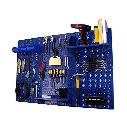 Pegboard Organizer Wall Control 4 ft. Metal Pegboard Standard Tool Storage Kit with Blue Toolboard and Blue Accessories ()