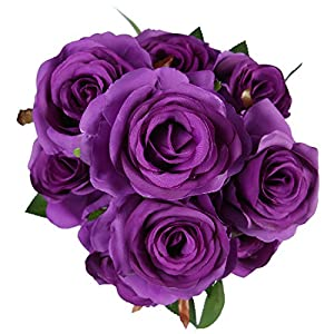 Veryhome Artificial Flowers 9 Heads Natural Looking Roses For Wedding Home Shop Decor 49