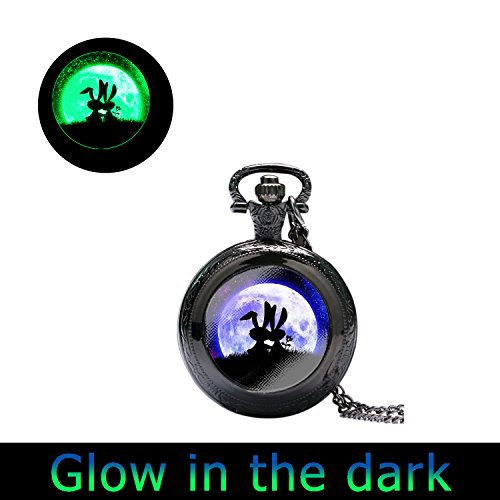 Glowlala@glow in the Dark Rabbit and Moon Hare and Moon Glowing Moon Hare in the Grass Animal and Full Moon Glow Watch Necklace Space (watch necklace2) ()