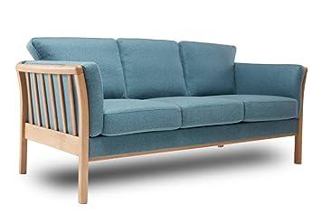 KRAGELUND Canapã 3 Sitzer Skandinavisches Design Aya Stoff Blau, TROL