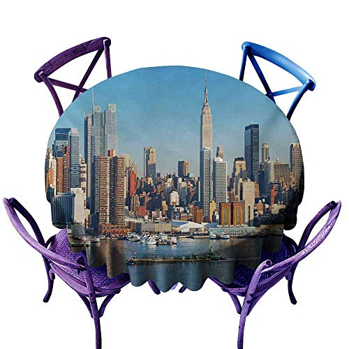 (Spill-Proof Table Cover,New York Urban City Skyline Manhattan with Empire State Building Over Hudson River Panorama,Table Cover for Home Restaurant,40 INCH,Blue Grey)