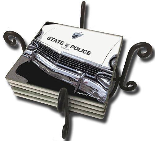 Vintage Ford Fairlane State Police Patrol Car Four Sandstone Coaster Set (Metal Holder) ()