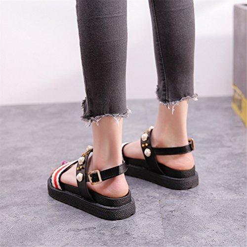Chaussures Strass Bohême Appartement Doigt Ouvrir Boho Plage des Femmes Sandales NVXIE Rond de noir Été Pied Sandales Fille Perle des UApZxgq