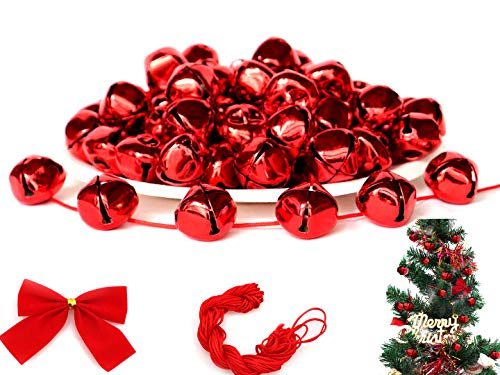 100Pack 1 Inch Red Jingle Bells Christmas Craft Bells Red Bells for Christmas & Party & Festival Decorations with 27m Red Cord and Red Bowknots (Bells Jingle Red)