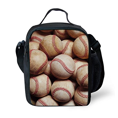 Boys Girls Lunch Bag/Lunch Box for School Travel Outdoor, Baseball Insulated Picnic Baseball Lunch Box Bag Tote with Adjustable (Kids Baseball Lunch Box)