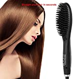 PJYU Electric Hair Straightening Brush Comb, Portable Ceramic Ionic Hair Straightener Brush Fashion Styling Hair Straightening Irons Straighten and Shine(Black)