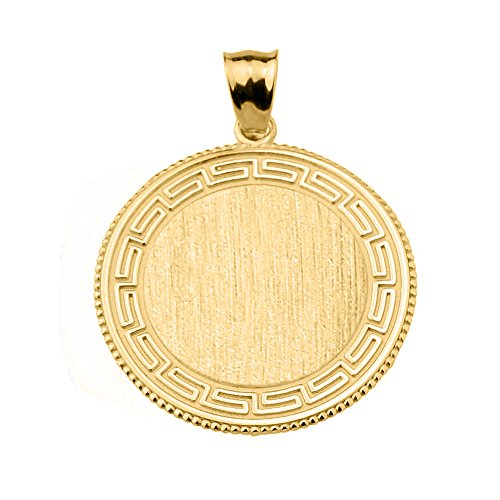 14k Yellow Gold Round Engravable Greek Key Charm Pendant