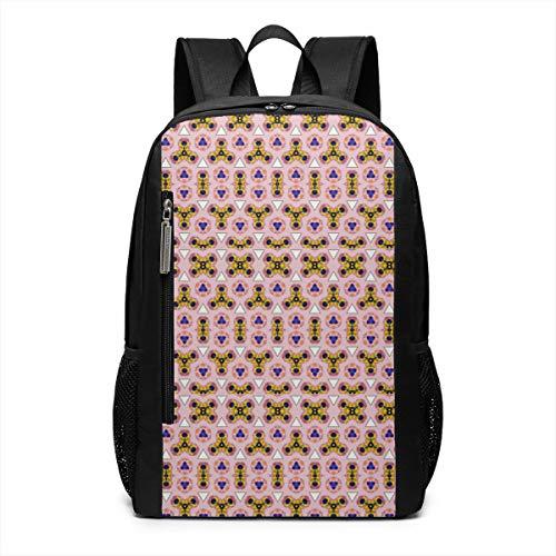 Pink Fingertip Gyroscope Theme Picture Pattern Printed Bookbag Book Back Middle School Bag Backpack Travel Hiking Mini Gym Gear Girls Boy Teen Women Kid Men Gift