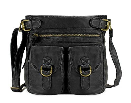 Scarleton Medium Crossbody Shoulder Bag for Women, Ultra Soft Washed Vegan Leather, Black, H199801