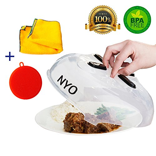 Microwave Plate Cover , Special Kitchen Set Of 3 - Magnetic Microwave Splatter Guard And 2 Bonuses - Better Sponge + Kitchen Towel With Free Shipping by NYO KITCHEN