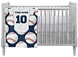 Baseball Jersey Crib Comforter / Quilt (Personalized)