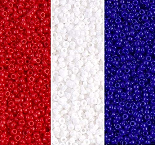 Miyuki 3 Color Patriotic Seed Beads Mix, Size 15/0, Red, White & Blue Each in 2, 8.2 Gram Tube