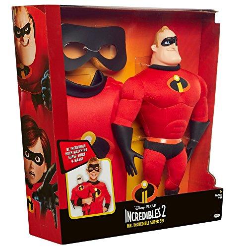 Disney Pixar Mr Incredible Incredibles 2 Super Set Doll Figure Mask Shirt Fits 4- 6X Exclusive Set 3 Piece