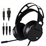 Cheap Stereo Gaming Headset for PS4 Xbox One, USB PC Gaming Headphone with Crystal Clear Sound, LED Lights & Noise-canceling Microphone for Laptop, Mac, iPad, Computer, Smartphones (Black)