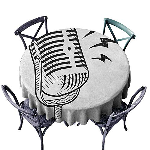 Picnic Round Tablecloth Circular Table Cover Doodle,Retro Microphone Communication and Media Concept Radio Show Speech Talk Podcast, Black White Diameter 70