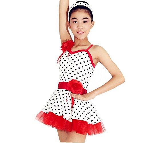 MiDee Polka Dot Girls Ballet Clothes Children Ballet Clothes Dance Costumes Cheap Red Edgeways Polka Dots Ballet Outfit (IC, Polaka
