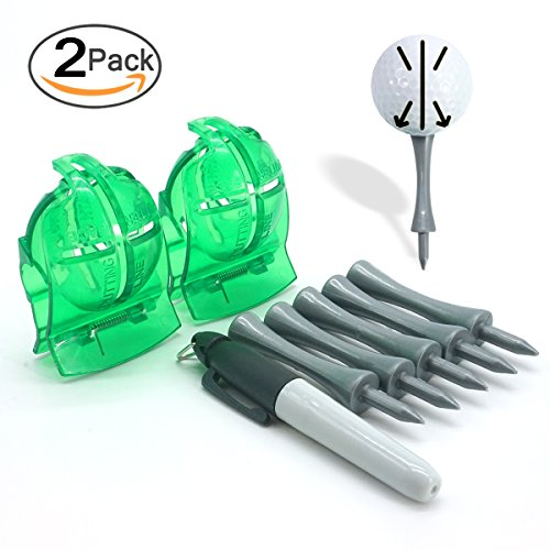 2 Pack Green Golf Ball Line Marker Kit for Golf Training (1 Maker Pen & 5 Pcs Glof Tee as (Ball Marker Pen)