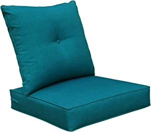 Bossima Cushions Patio Furniture, Outdoor Water Repellent Fabric, Deep Seat Pillow High Back Design, Teal Blue