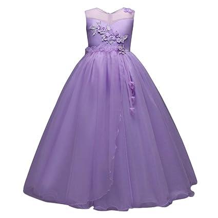 c7b8df5f7b1 Btruely Prinzessin Kleid Mädchen Brautjungfern Kleid Abendkleid Blumen  Cocktailkleid Hochzeit Partykleid Tüll Festzug Kinder Spitze Kleid