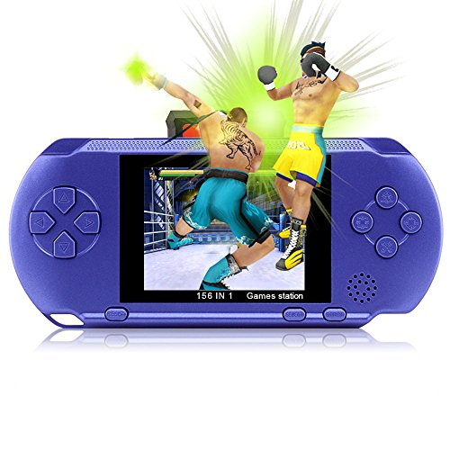 Price comparison product image Handheld Game Console,YANX Classic 16bit Portable Video Game Console Game Player With Two Cartidiges Built in 100+ Games Christmas Halloween XMAS Birthday Gifts for Boy Kids Children-Blue