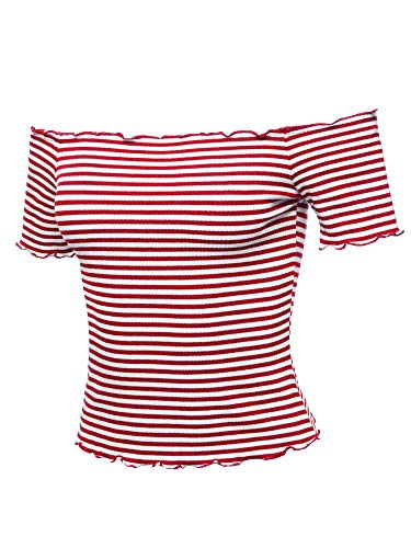 Casual Stripes Lettuce Hem Ribbed Off-Shoulder Crop Top Red Size L
