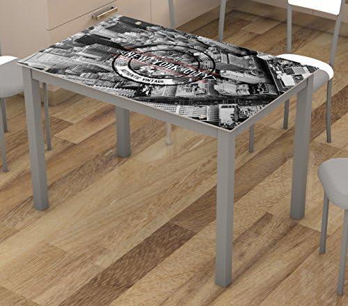 Mesa fija de cocina cristal con serigrafia de Nueva York 110x70cm ...