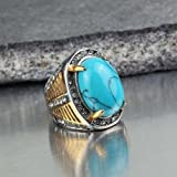Fashion Stainless Steel Mens Blue Turquoise Stone Antique Ring US Size 7 8 9 10 (7)