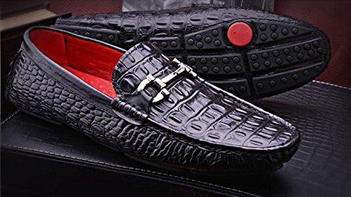 Happyshop (tm) Cuir De Crocodile Casual Mocassins À Enfiler Moccasin Mens Business Chaussures Noir