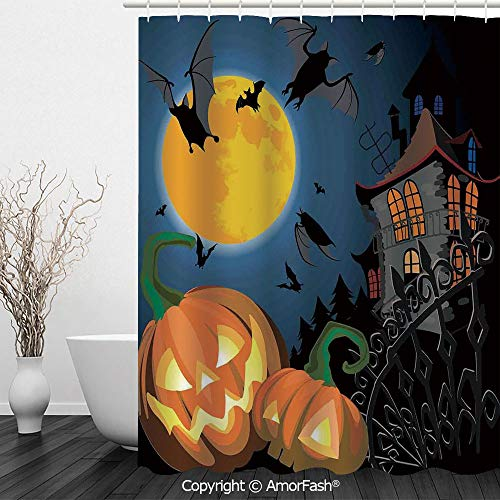 SCOCICI Halloween Decorations,Printed Floral Fabric Shower Curtain Set with 12 Hooks Bath Curtains,72 x 72 inches,Gothic Halloween Haunted House Party Theme Decor Trick or Treat for Kids,Multi