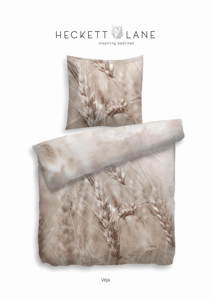 Heckett & Lane Mako-Satinbettwäsche Veja I Farbe natur I 155x220 cm +80x80 I Reine Baumwolle I Reißverschluss I Getreide I Wendebettwäsche