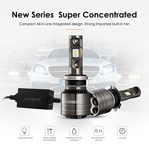Auxbeam Led Headlights F-T1 Series H7 led Headlight Bulbs with 2 Pcs of 70W 7000lm LED Chips Conversion Kits Single Beam with Temperature Control