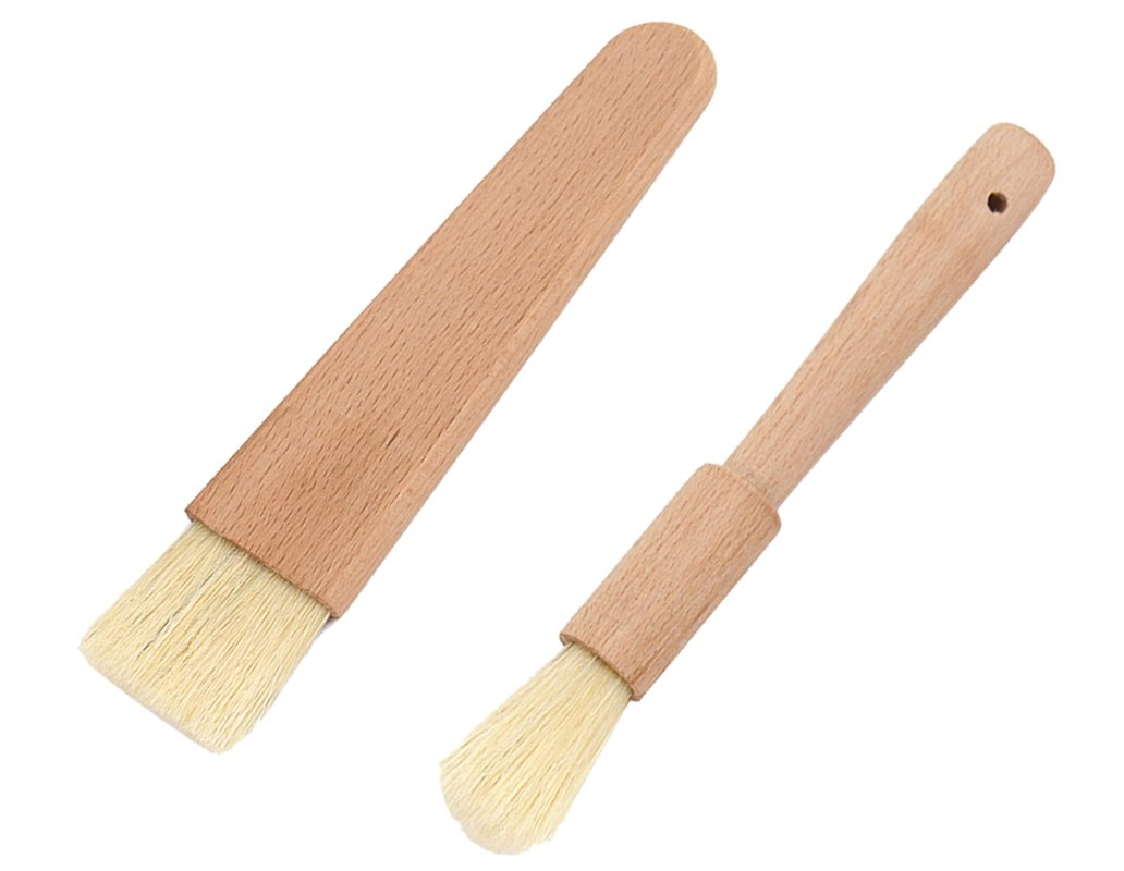 wellhouse Natural Pig Bristle Pastry Brush with Untreated Beechwood Handle wooden Baking Bakeware Basting Brush for BBQ/Oven/Grill/Cooking/Baking/Frying Kitchen baking barbecue tools (A+B) by wellhouse