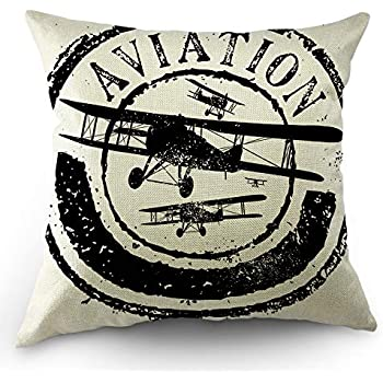 Moslion Airplane Throw Pillow Cover Stamp Design with Word Aviation and Airplane Pillow Case 18x18 Inch Cotton Linen Square Cushion Decorative Cover for Sofa Bedroom Black White