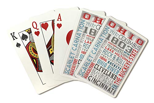 (Ohio - The Buckeye State - Rustic Typography (Playing Card Deck - 52 Card Poker Size with Jokers) )
