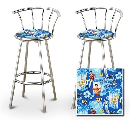 2 Elvis Presley Blue Hawaii Fabric Specialty / Custom Chrome Barstools with Backrest Set by The Furniture Cove