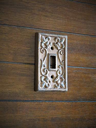 Single Light Switch Cover Switchplate Cast Iron Fleur de Lis Design Aged Copper or Pick -