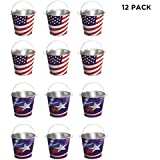 Lot Of 12 Assorted Patriotic Theme Mini Metal Bucket Party Favors