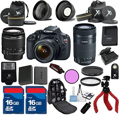 Canon Rebel T5 Camera Body with 18-55mm IS II + 55-250mm IS STM + Deluxe Kit Bundle - International Version
