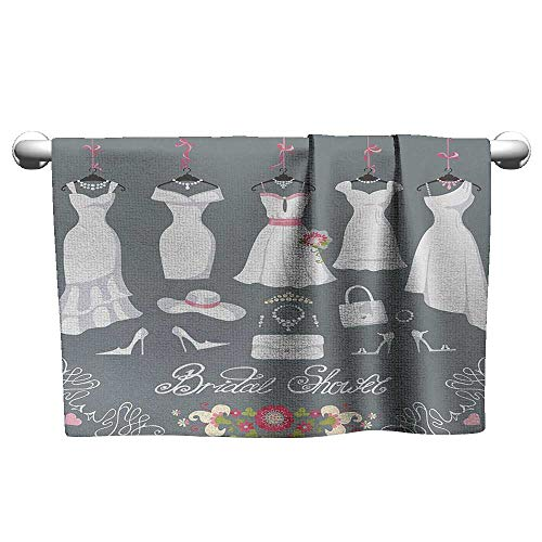 Printed Towel W24 x L8 Bridal Shower,White Wedding Dress with Bride Details Bags Florals Print,White Pink and Charcoal Grey Soft and Durable ()