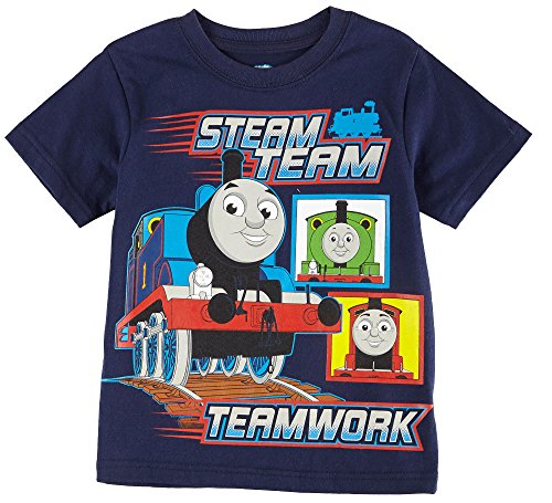 Thomas the Train Little Boys' Toddler Short Sleeve Shirt Steam Team Navy (4T)