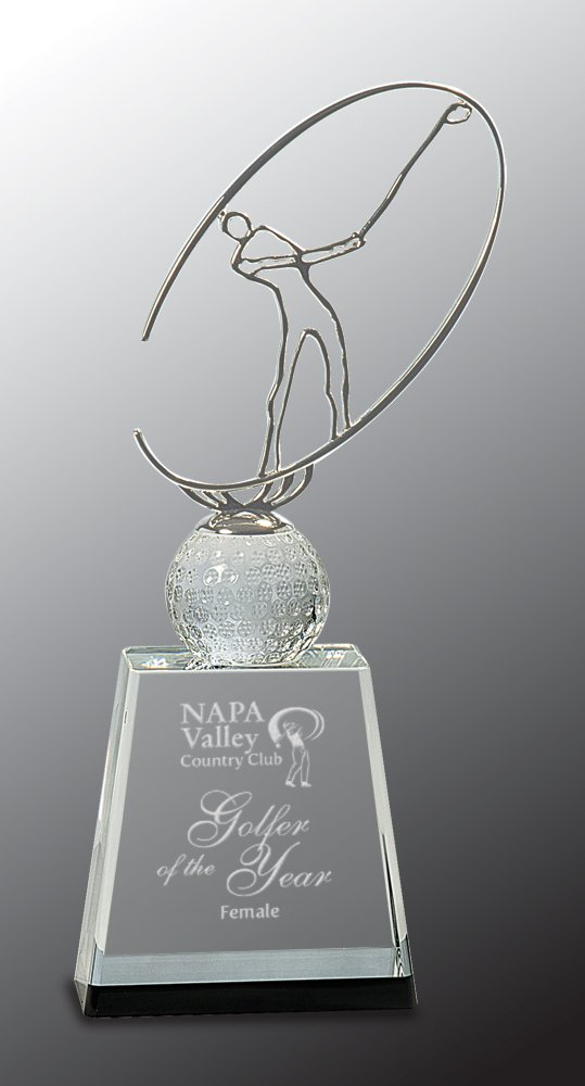 Woltman - 11'' Clear/Black Crystal Golf Award with Silver Metal Oval Figure