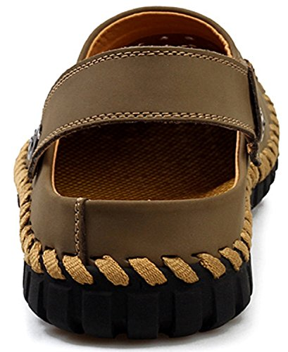 BININBOX Men Sandals Shoes Slippers Summer Flip Flops Beach Men Leather Sandals Khaki gPPDk