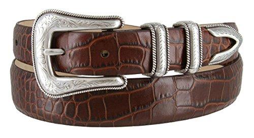Brenton - Men's Italian Calfskin Designer Dress Golf Belt with Western Silver Plated Buckle Set (38 Alligator Brown) (Brown Calfskin Belt)