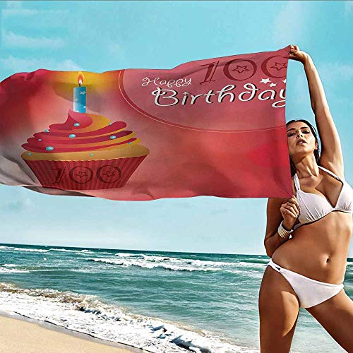 Antonia Reed Personalized Beach Towel 100th Birthday,100 Years Party Cupcake with Candle Abstract Vivid Colored Backdrop,Pink Red and Orange,Bath Towel Personality Soft and Comfortable 32