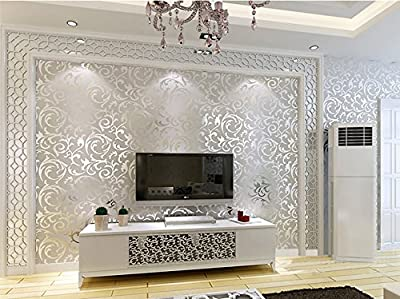 "Yancorp Silver Grey Victorian Damask Embossed Textured Wallpaper 21""x 394"" inches,covers 57 square feet"