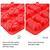 BESTOMZ 2 Pack Trays Puppy Pets Dog Paws Bones Silicone Baking Molds, Bake Dog Treats For Pets, Kids, Dog-lovers